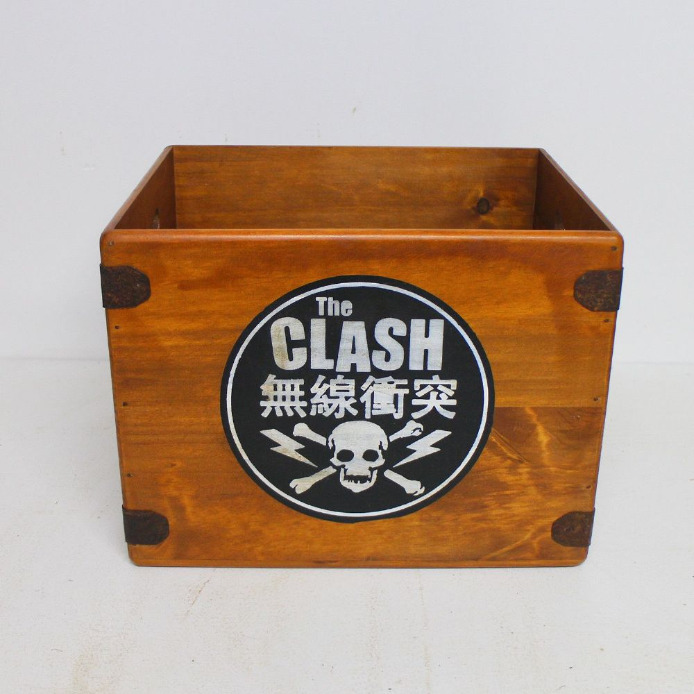 "Clash Record Box 12"" LP Vintage Wooden Crate Skull Punk"